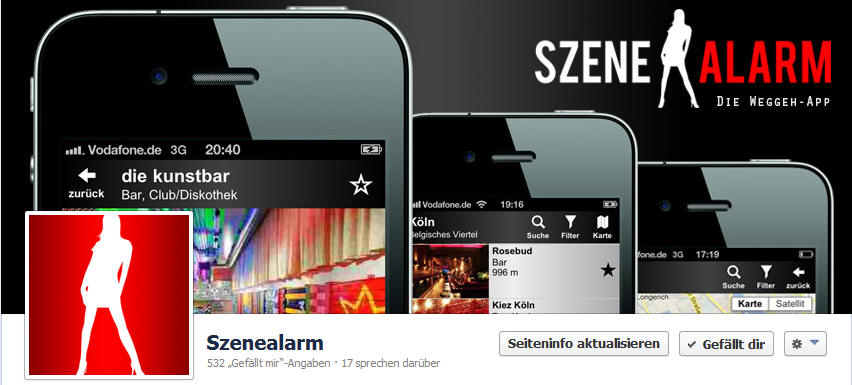 Szenealarm Facebook Screenshot